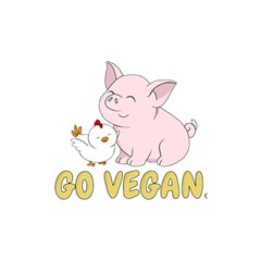 Go Vegan   Cute Pig And Chicken Shower Curtain 48  X 72  (small)  by Valentinaart