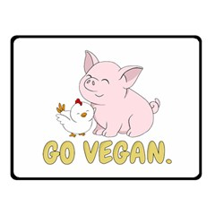 Go Vegan   Cute Pig And Chicken Double Sided Fleece Blanket (small)  by Valentinaart