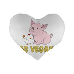 Go Vegan   Cute Pig And Chicken Standard 16  Premium Flano Heart Shape Cushions by Valentinaart
