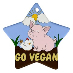 Go Vegan   Cute Pig And Chicken Ornament (star)