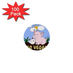 Go Vegan   Cute Pig And Chicken 1  Mini Buttons (100 Pack)