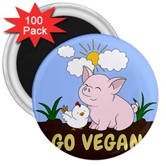 Go Vegan   Cute Pig And Chicken 3  Magnets (100 Pack) by Valentinaart