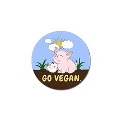 Go Vegan   Cute Pig And Chicken Golf Ball Marker (4 Pack) by Valentinaart