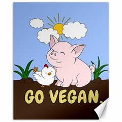Go Vegan   Cute Pig And Chicken Canvas 11  X 14   by Valentinaart