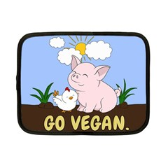 Go Vegan - Cute Pig And Chicken Netbook Case (small)  by Valentinaart