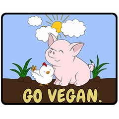 Go Vegan   Cute Pig And Chicken Fleece Blanket (medium)