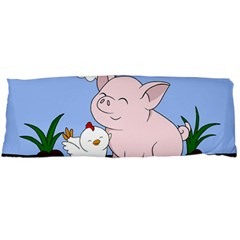 Go Vegan   Cute Pig And Chicken Body Pillow Case Dakimakura (two Sides) by Valentinaart