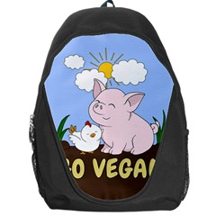 Go Vegan   Cute Pig And Chicken Backpack Bag by Valentinaart