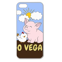 Go Vegan   Cute Pig And Chicken Apple Seamless Iphone 5 Case (clear) by Valentinaart