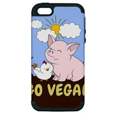 Go Vegan   Cute Pig And Chicken Apple Iphone 5 Hardshell Case (pc+silicone) by Valentinaart