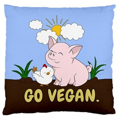 Go Vegan   Cute Pig And Chicken Standard Flano Cushion Case (two Sides)