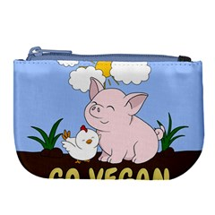 Go Vegan   Cute Pig And Chicken Large Coin Purse by Valentinaart