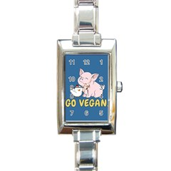 Go Vegan   Cute Pig And Chicken Rectangle Italian Charm Watch by Valentinaart