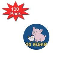 Go Vegan - Cute Pig And Chicken 1  Mini Buttons (100 Pack)  by Valentinaart