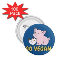 Go Vegan   Cute Pig And Chicken 1 75  Buttons (100 Pack)