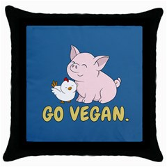 Go Vegan   Cute Pig And Chicken Throw Pillow Case (black) by Valentinaart