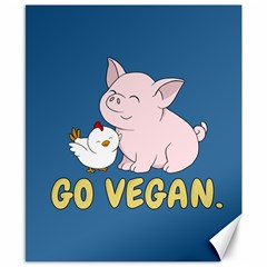 Go Vegan   Cute Pig And Chicken Canvas 8  X 10