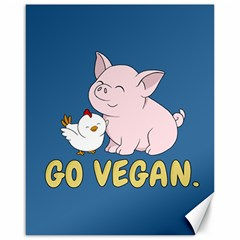 Go Vegan   Cute Pig And Chicken Canvas 16  X 20