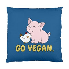Go Vegan   Cute Pig And Chicken Standard Cushion Case (one Side) by Valentinaart
