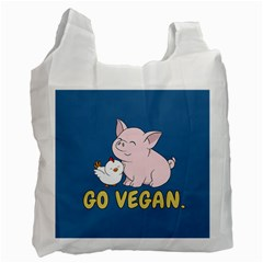 Go Vegan   Cute Pig And Chicken Recycle Bag (one Side)