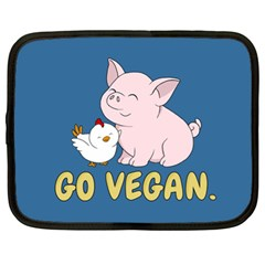 Go Vegan   Cute Pig And Chicken Netbook Case (xl)  by Valentinaart