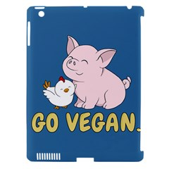 Go Vegan   Cute Pig And Chicken Apple Ipad 3/4 Hardshell Case (compatible With Smart Cover) by Valentinaart