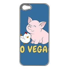 Go Vegan   Cute Pig And Chicken Apple Iphone 5 Case (silver) by Valentinaart