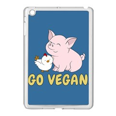 Go Vegan   Cute Pig And Chicken Apple Ipad Mini Case (white) by Valentinaart