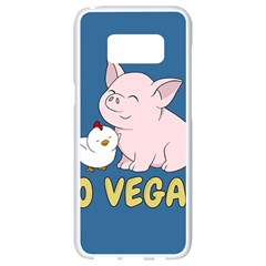Go Vegan   Cute Pig And Chicken Samsung Galaxy S8 White Seamless Case