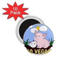 Go Vegan   Cute Pig And Chicken 1 75  Magnets (10 Pack)