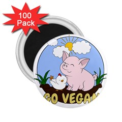 Go Vegan   Cute Pig And Chicken 2 25  Magnets (100 Pack)  by Valentinaart
