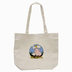 Go Vegan   Cute Pig And Chicken Tote Bag (cream) by Valentinaart