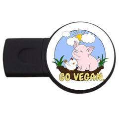Go Vegan   Cute Pig And Chicken Usb Flash Drive Round (4 Gb) by Valentinaart