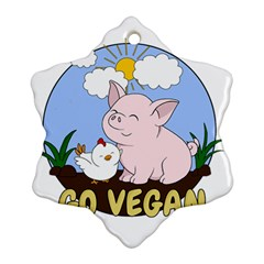 Go Vegan - Cute Pig And Chicken Ornament (snowflake)