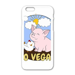Go Vegan   Cute Pig And Chicken Apple Iphone 6/6s White Enamel Case by Valentinaart