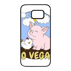 Go Vegan   Cute Pig And Chicken Samsung Galaxy S7 Edge Black Seamless Case by Valentinaart