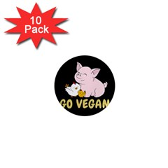 Go Vegan   Cute Pig And Chicken 1  Mini Magnet (10 Pack)  by Valentinaart
