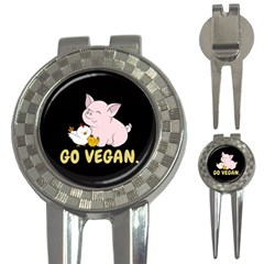 Go Vegan - Cute Pig And Chicken 3-in-1 Golf Divots by Valentinaart