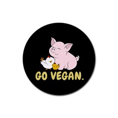 Go Vegan   Cute Pig And Chicken Rubber Round Coaster (4 Pack)  by Valentinaart