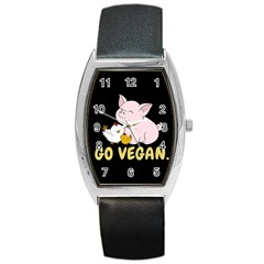 Go Vegan   Cute Pig And Chicken Barrel Style Metal Watch