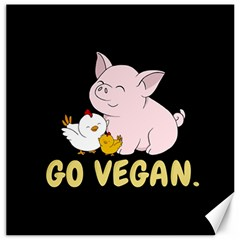Go Vegan   Cute Pig And Chicken Canvas 12  X 12   by Valentinaart