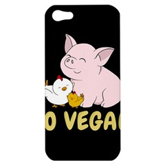 Go Vegan   Cute Pig And Chicken Apple Iphone 5 Hardshell Case by Valentinaart