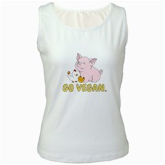 Go Vegan   Cute Pig And Chicken Women s White Tank Top