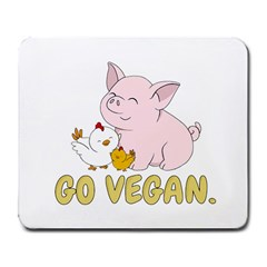 Go Vegan   Cute Pig And Chicken Large Mousepads by Valentinaart