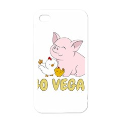 Go Vegan   Cute Pig And Chicken Apple Iphone 4 Case (white) by Valentinaart
