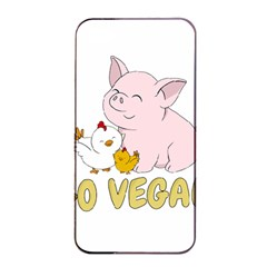 Go Vegan   Cute Pig And Chicken Apple Iphone 4/4s Seamless Case (black) by Valentinaart