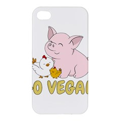 Go Vegan   Cute Pig And Chicken Apple Iphone 4/4s Premium Hardshell Case by Valentinaart