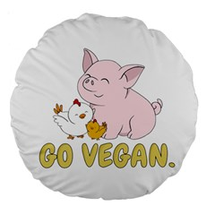 Go Vegan   Cute Pig And Chicken Large 18  Premium Round Cushions by Valentinaart