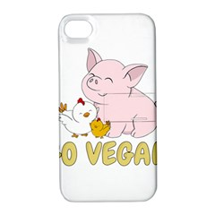 Go Vegan   Cute Pig And Chicken Apple Iphone 4/4s Hardshell Case With Stand by Valentinaart