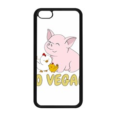 Go Vegan   Cute Pig And Chicken Apple Iphone 5c Seamless Case (black) by Valentinaart